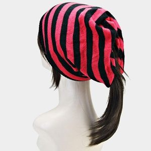 NWT Red Striped Open End Acrylic Fashion Beanie